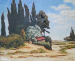Toit rouge sur les cyprès - 1973