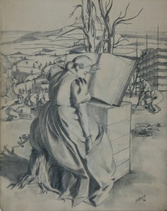 Etude femme vetue de robe de cour - 1944